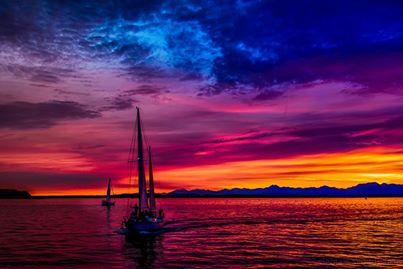 Rainbow sunset in Seattle