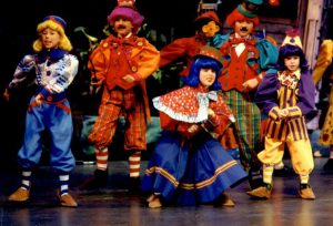A sampling of the many costumes available for the Munchkins in THE WIZARD OF OZ.